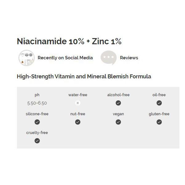 [GIÁ HỦY DIỆT] Tinh chất Niacinamide 10% + Zinc 1% - The Ordinary