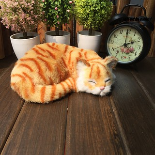 Mback_Realistic Cute Sleepy Cat Photography Props Desktop Home Car Decor Toy Gift