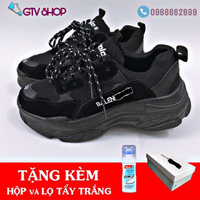 [TẶNG HỘP + LỌ TẨY hoặc TẤT] Giày thể thao nam nữ ulzzang, sneaker 3len trip đen full, size 36 đến 43.     .