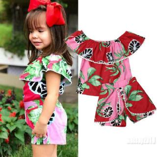 Mu♫-Summer Infant Kids Baby Girls Watermelon Floral Off Shoulder Set Outfits