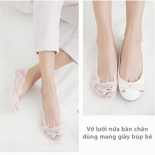 vớ ren chống trượt mang giày cao gót, giày búp bê (màu Kem, màu đen) - PK07 5
