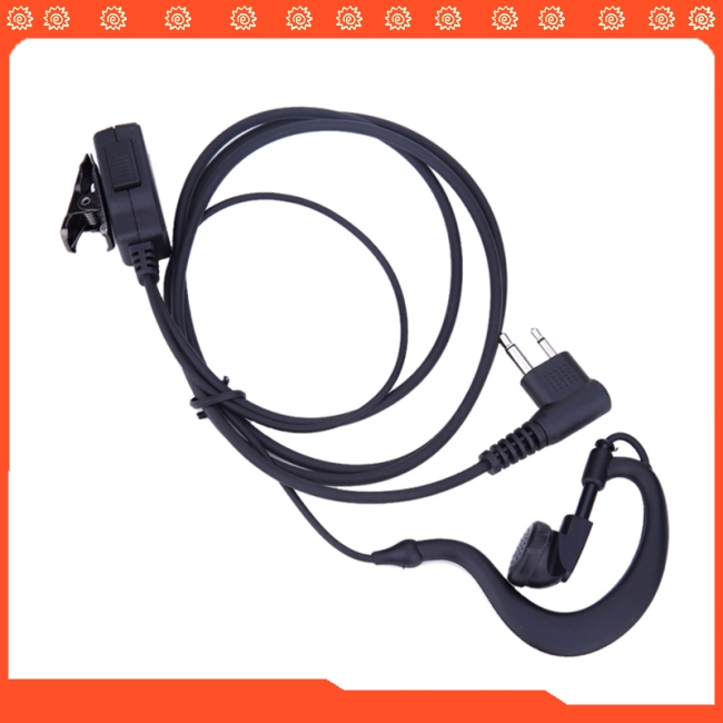 2 Pin Acoustic Tube Earpiece Mic PTT Headset for Motorola Radios GP88 GP300 Walkie Talkie Earpiece
