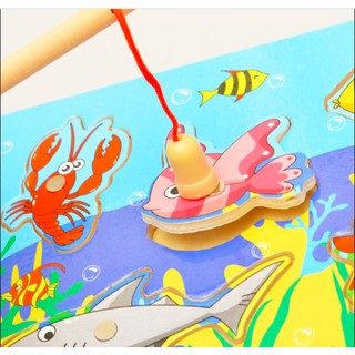 Đồ chơi gỗ Bộ câu cá, câu sinh vật biển nam châm bằng gỗ size nhỏ