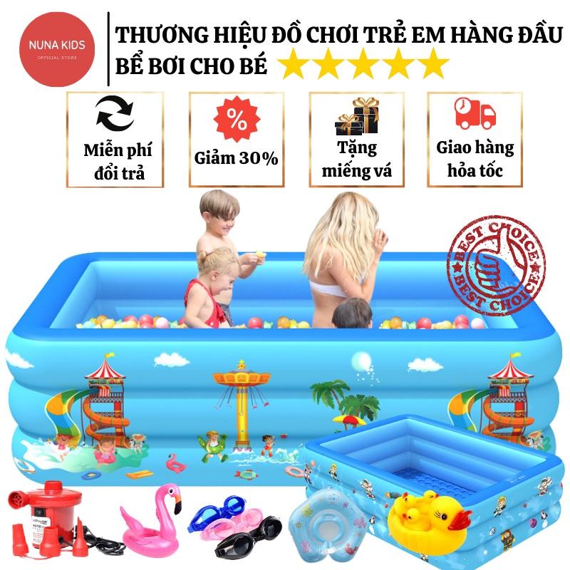 Bể bơi cho bé NUNAKIDS cao cấp đủ kích cỡ đáy chống trượt, bể bơi phao TẶNG miếng vá, kèm Bơm điện, Hồ bơi cho bé