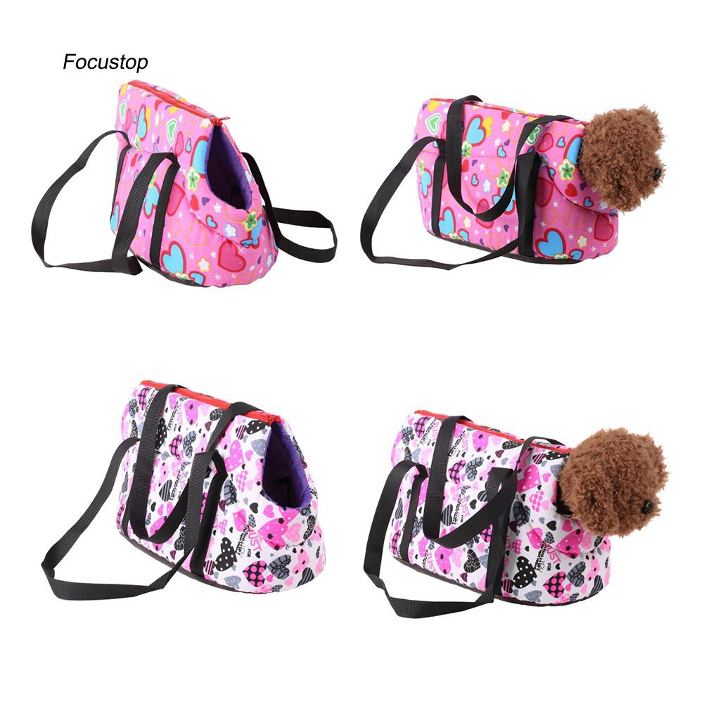 FCSP♣Fashion Heart Print Pet Dog Shoulder Carrier Puppy Cat Outdoor Travel Tote Bag