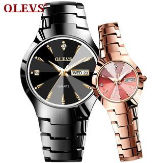 Đồng đeo tay thạch anh OLEVS chất liệu thép vonftam thời trang cho cặp đôi