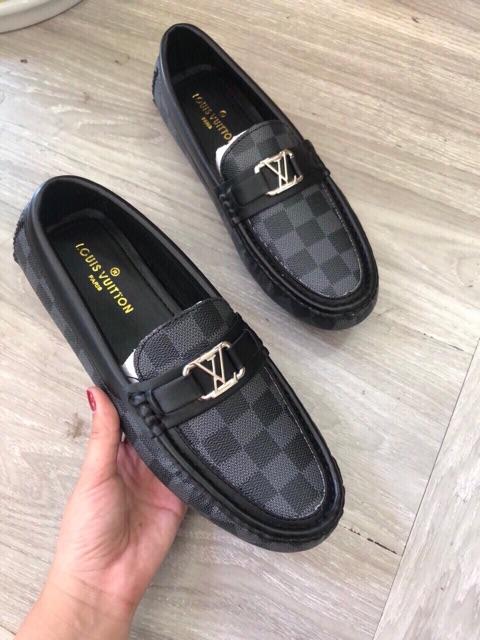 Giày mọi da nam LV màu xám xanh