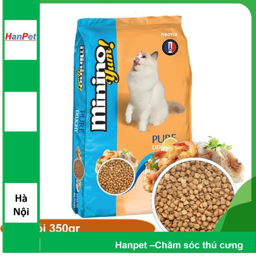 HN (1 Gói 350gr) Minino Yum (2 vị) - Thức ăn viên cho mèo mọi lứa tuổi - thức ăn mèo dạng hạt khô|Hải sản 350gr