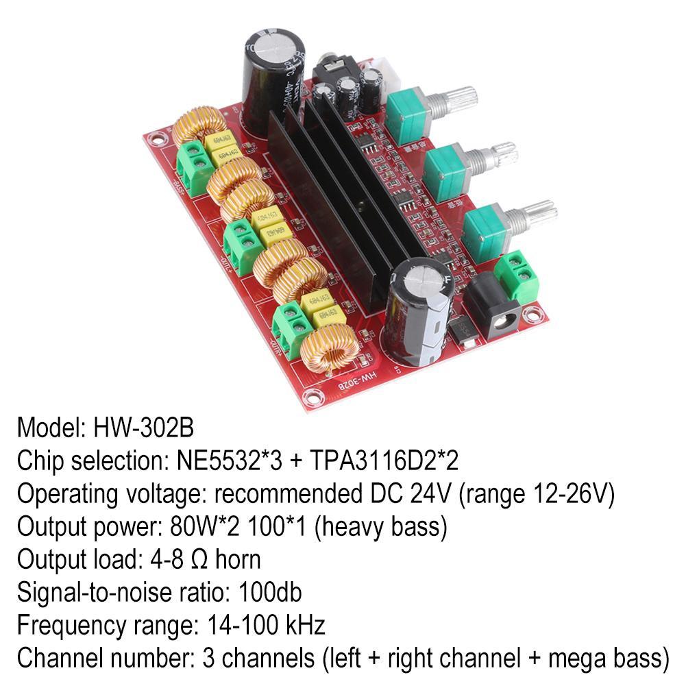 Verne Audio Amplifier Board, Yeeco 2.1 Channel 2x80W+100W Digital Power Amplifier Board DC 12-26V 15V 19V