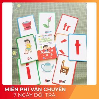 Bộ thẻ học thông minh flashcard chữ ghép và chữ cái cho bé học tiếng việt (khổ lớn 10x15cm)