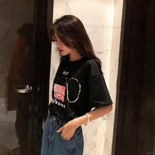 Women's Summer Casual Loose Round Neck Sequined Cartoon Handbag Print Short Sleeve T-Shirt