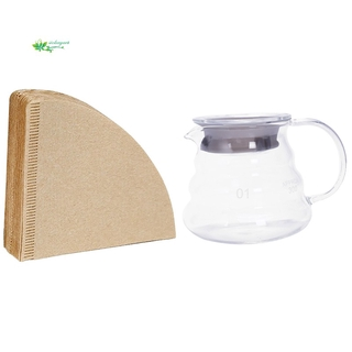 COD – 1x V60 Pour Over Glass Range Coffee Carafe Drip Coffee Pot 360Ml & 80x V60 Filter Cup Special 102 Coffee Filter Paper