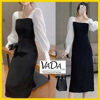 Đầm dự tiệc thiết kế cổ vuông 2021, Phong cách Hàn quốc, hàng đẹp cao cấp giá rẻ - Thời trang VADA - Đ39 thumbnail
