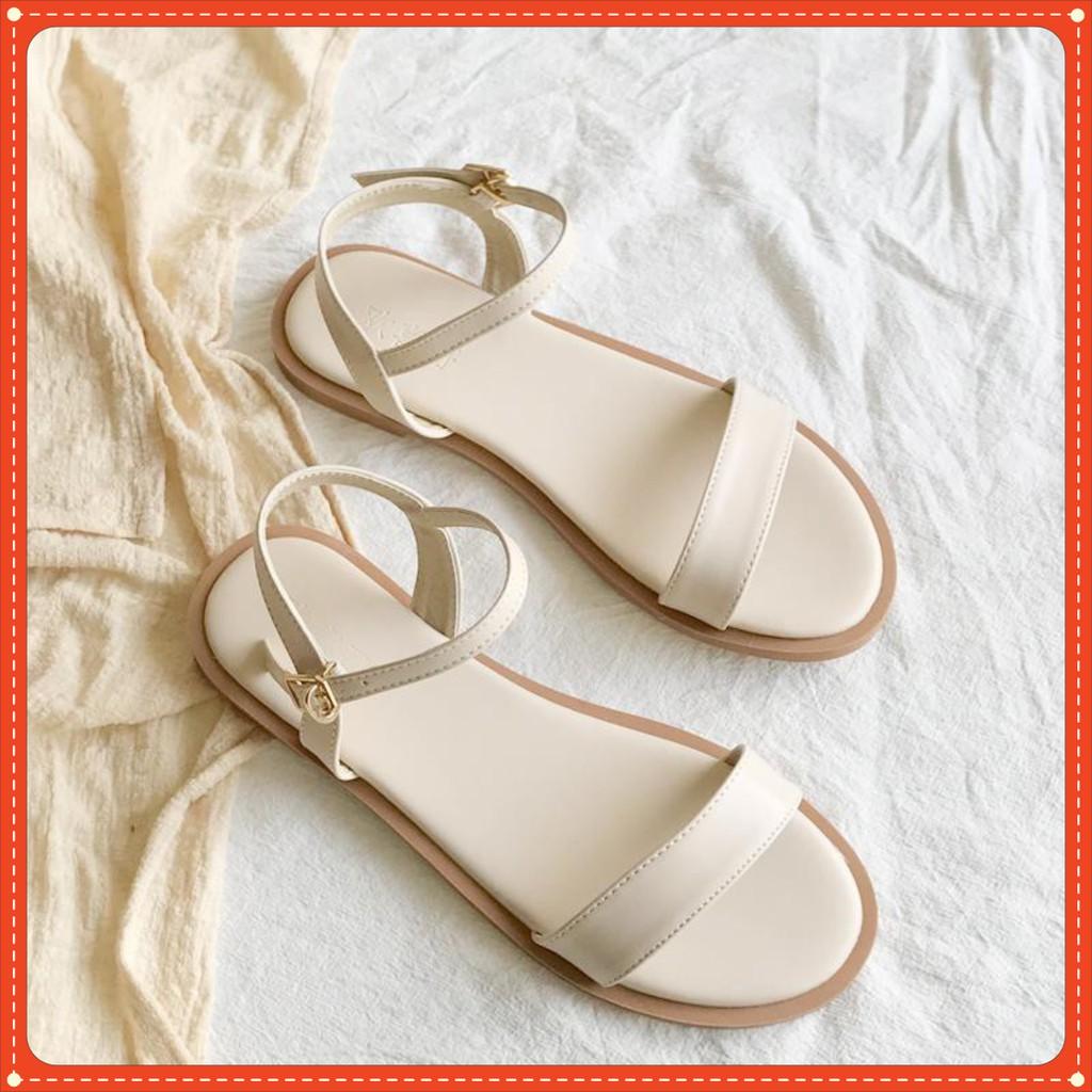 Gìay sandal đế bằng thời trang VIETLAVANI mã S12 mũi hở quai ngang kiểu dáng thanh lịch hàng chuẩn