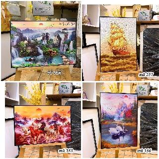 Khung tranh canvas treo tường trang trí phòng khách, cửa hàng ( tranh kèm khung y hình ) thumbnail
