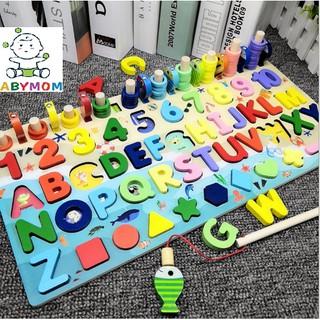 Bảng học chữ cái, đếm các chữ số, 10 bậc thang, thả hình kèm câu cá 5 in 1 và 4 in 1 đồ chơi bằng gỗ màu sắc