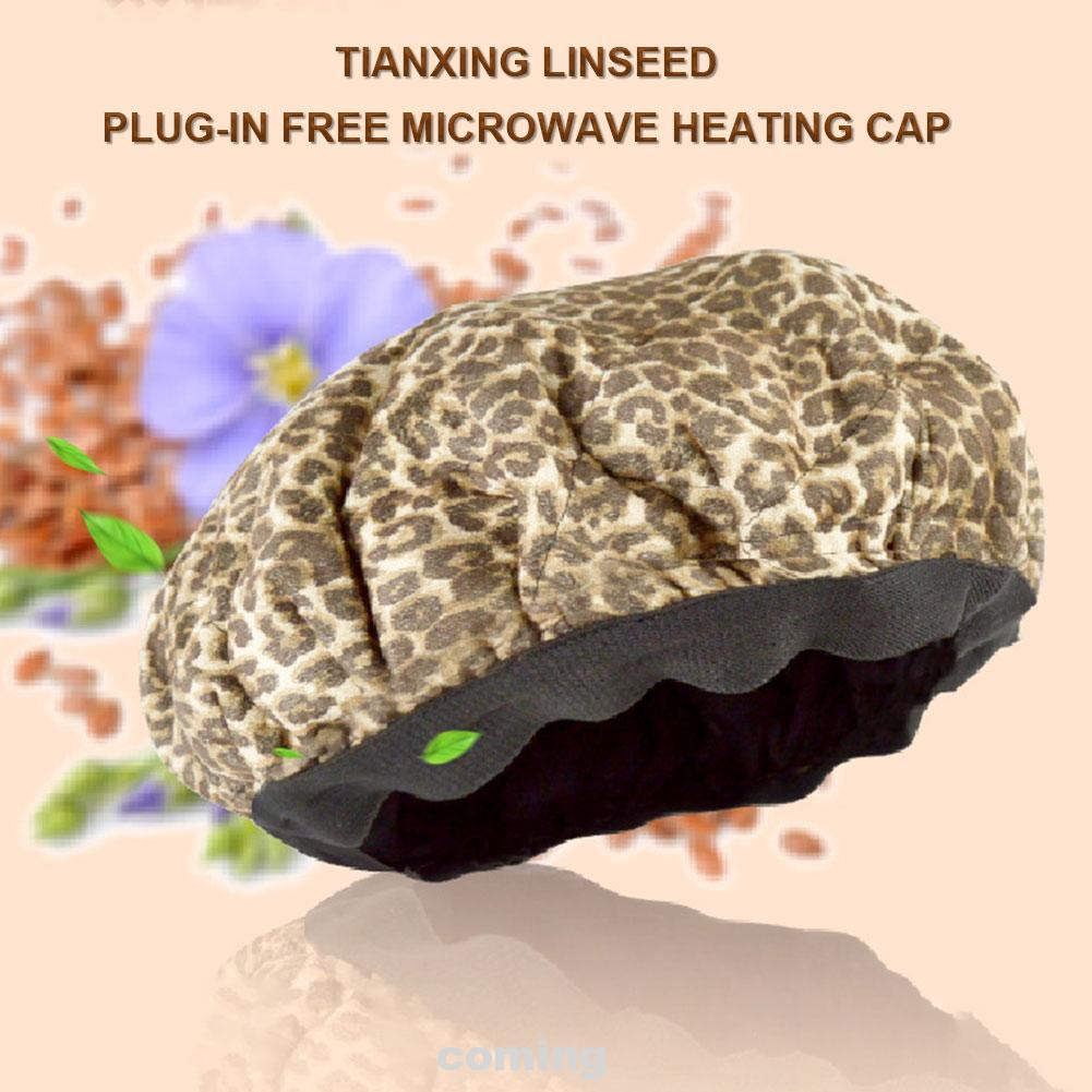 Cordless Deep Conditioning Hair Care Leopard Print Microwavable Reversible Reusable Steaming Heat Cap