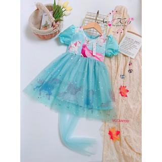 Đầm công chúa bé gái 1-14 tuổi, chủ đề Elsa pony anni, vải thô voan xịn