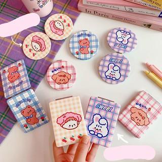 Gương Mini Cầm Tay Gấp Bọc Da PU Gingham Hoạt Hình Cute thumbnail