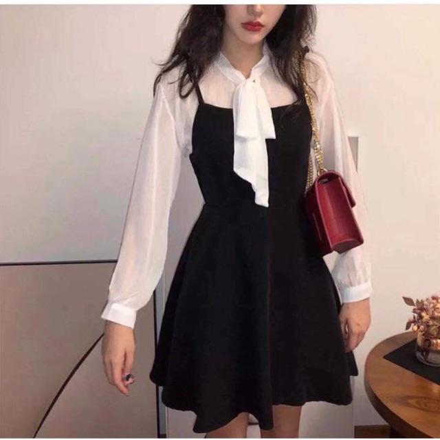Váy : áo sơ mi trong+ váy bên ngoài