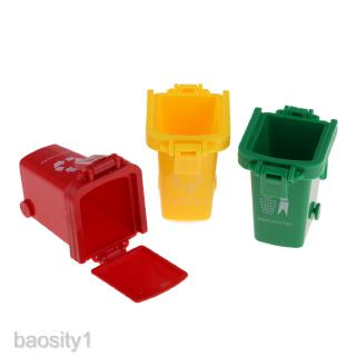 Set of 3 Mini Curbside Trash and Recycle Can Set Pencil Cup Holder (Green,Yellow,Red), Fun Playing, Novelty and Party