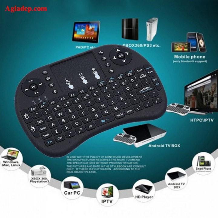Bàn phím mini không dây kiêm chuột i8 Loại tốt có pin Lithium cho TVbox SmartTV Laptop