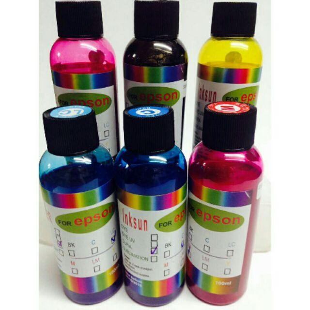 Bán lẻ màu Mực pigment uv không phai 100ml cho máy epson-1 chai 90k