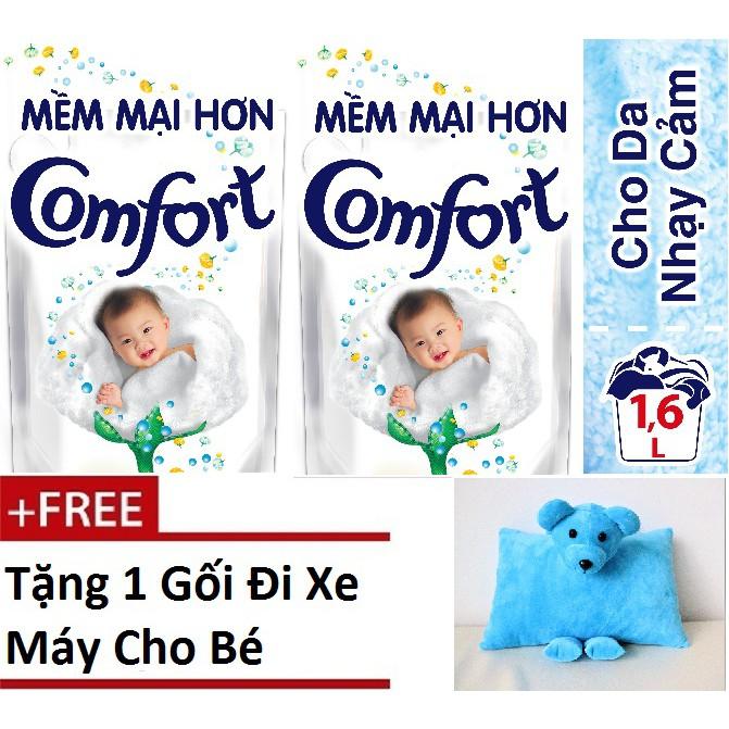 Combo 2 Túi Nước xả vải Comfort Cho Da Nhạy Cảm túi 1.6L ( MSP 67434150 x 2) + Tặng 1 Gối Đi Xe Máy Cho Bé