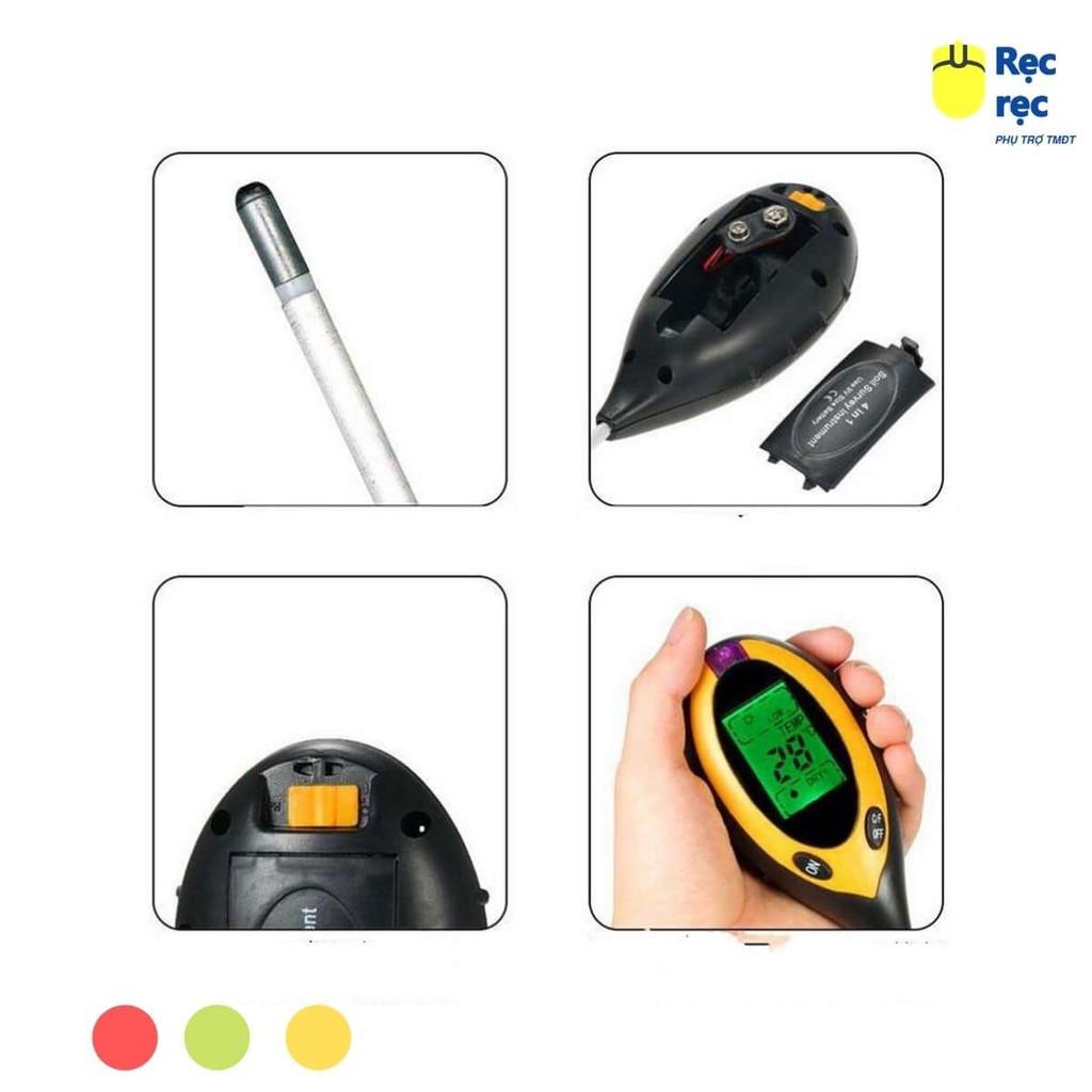 Máy đo, dụng cụ đo độ PH đất 4 trong 1(PH, độ ẩm, ánh sáng, nhiệt độ)