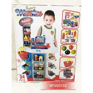 Quầy tính tiền siêu thị pin, máy quét, giỏ xách 24 món 2393
