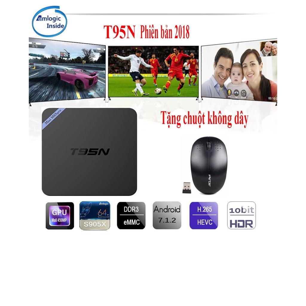 Android Tivi Box T95N Ram 2G - Rom 16G tặng kèm chuột Bluetooth