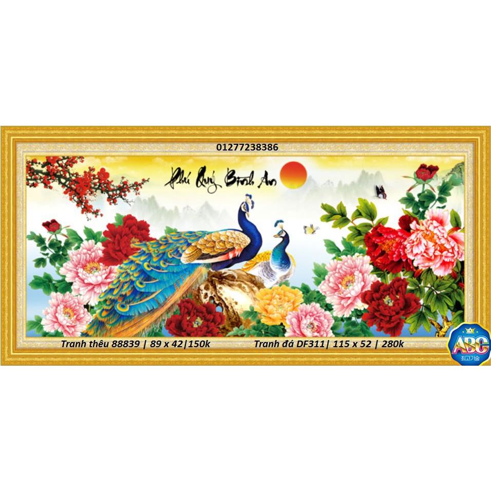 Tranh thêu chữ thập chim công 88839 - phú quý bình an (KT: 89 x 42 cm)