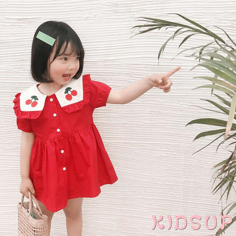 Mu♫-Design Cherry Embroidery Baby Girls Princess Dress Cotton Toddler Red Dreses