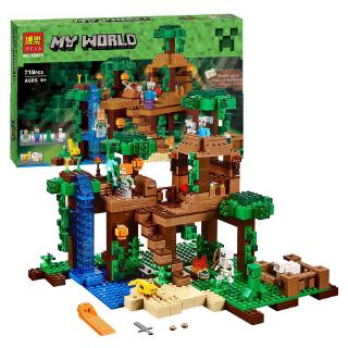 LEGO Minecraft Series Building Blocks Brain Puzzle Game MY World The Jungle Tree House Set Kids Toys DIY Assembly toy