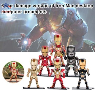 6Pcs Avengers Infinity War Iron Man Action Figures Super Heroes Desk Model Decor