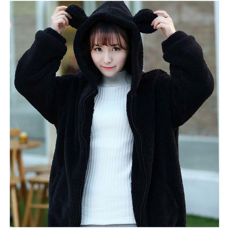 Áo khoác đệm lông phối tai gấu đáng yêu