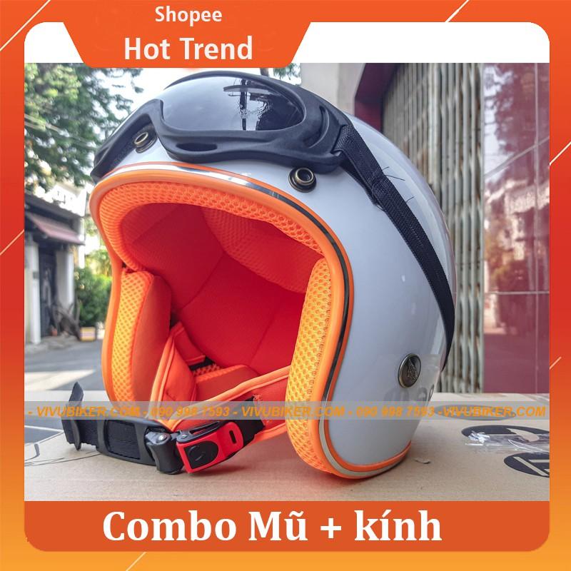 Mũ nón bảo hiểm 3/4 đi phượt NTmax trắng lót đỏ kèm kính mũ 3/4 - Mũ bảo hiểm 3/4 trắng đỏ kèm kính UV siêu dễ thương