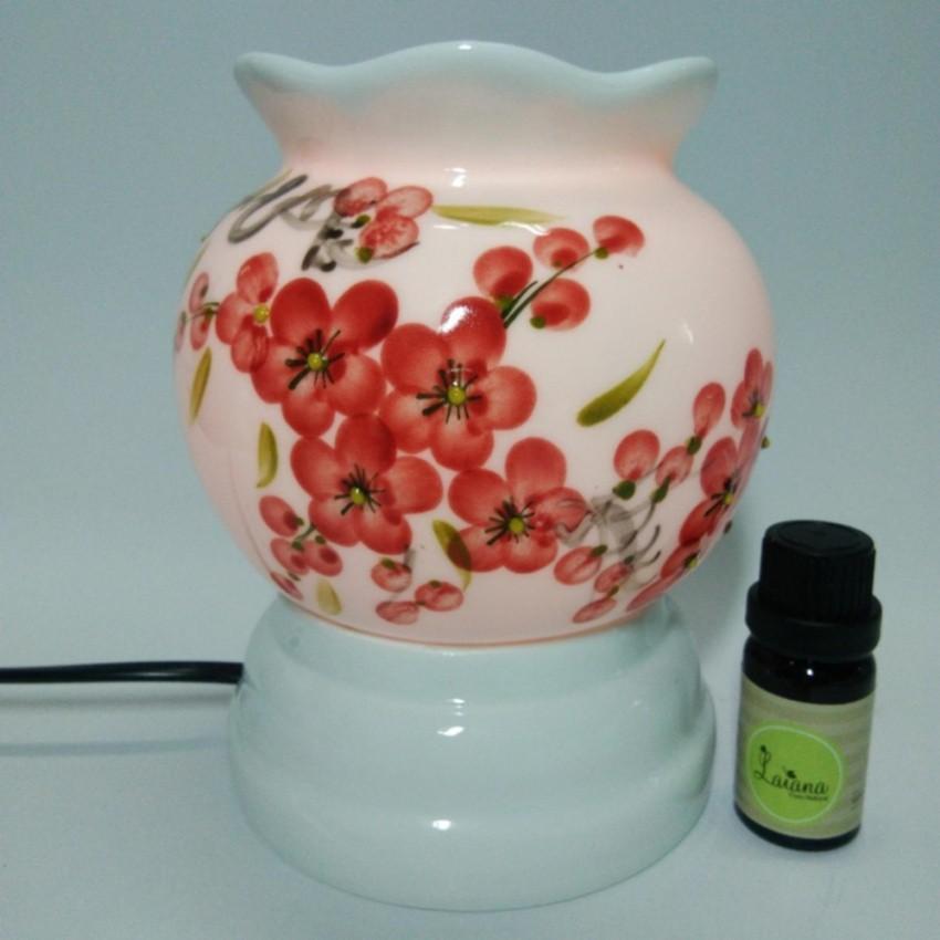 Đèn xông tinh dầu gốm sứ thấu quang cỡ lớn + 2 tinh dầu sả chanh 10 ml
