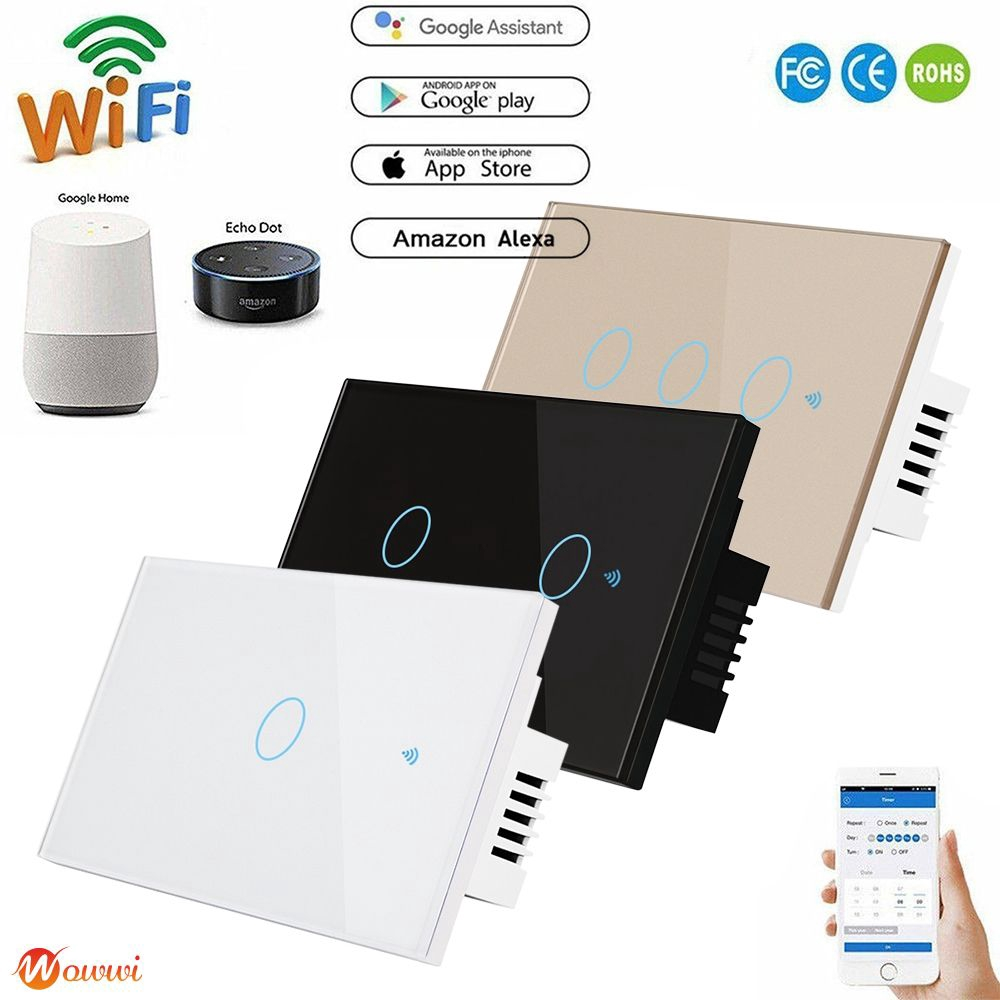 ❥ Smart Switch Wall Light WIFI APP Remote Touch Contorl Switch For Alexa/Echo Home Type 120 Gdth