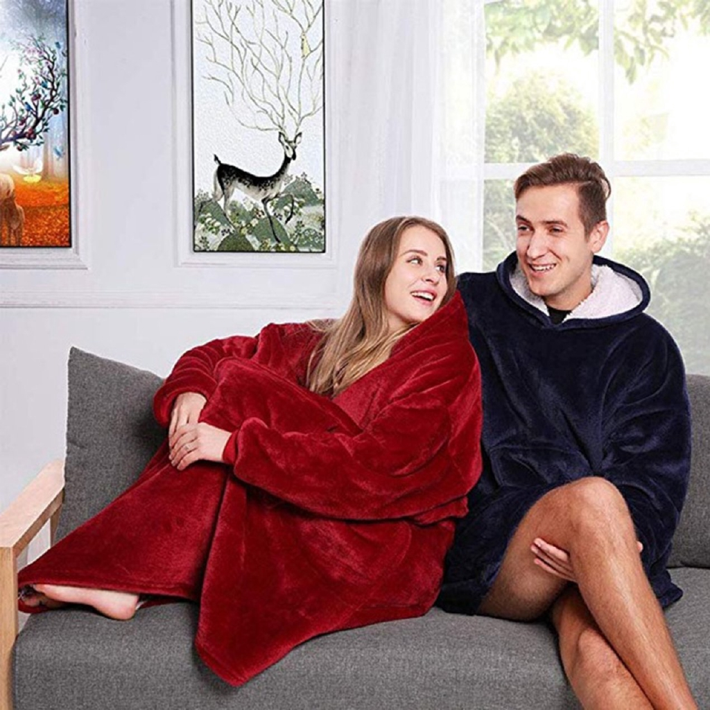 ^SD^ Hooded And Velvet Warm Clothing Lazy Tv Blanket Outdoor Cold Clothes