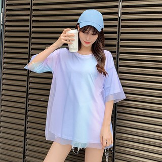 INFINITE Women's Fake Two Pieces Casual O Neck Rainbow-Colored Mesh Stitching Short Sleeve Loose T-Shirt