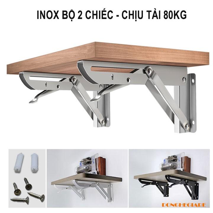 Bộ 2 bản lề gập inox, eke inox gấp gọn treo tường thông minh chân ke gập decor bàn học chịu lực tải 80kg Loại Tốt