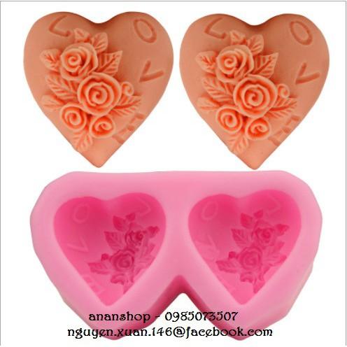 Khuôn silicon 2 tim hoa hồng