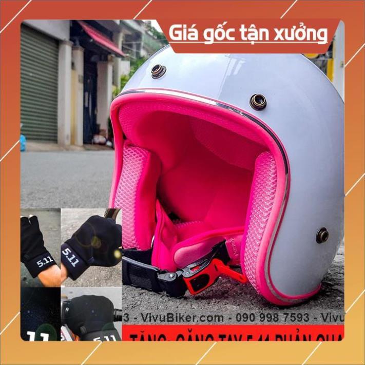 [Giống ảnh] Nón bảo hiểm 3/4 trắng lót hồng kèm găng tay 5.11 cao cấp - mũ bảo hiểm 3/4 đi phượt