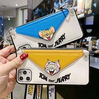 Ốp Lưng Da Có Dây Đeo Tay In Hình Mèo Tom / Jerry Cho Iphone 11 Pro Max Se2 X Xs Max Xr 6 6s 7 8 Plus