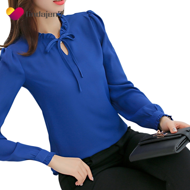 Women Delicate Bowknot Fashion Casual Long-sleeved Solid Color Tops