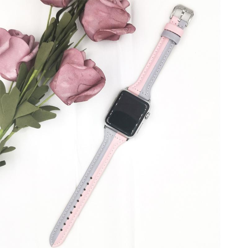 Dây Đeo Da Kẻ Sọc Cho Đồng Hồ Thông Minh Apple Watch Se 6 5 4 3 2 Band 38mm...