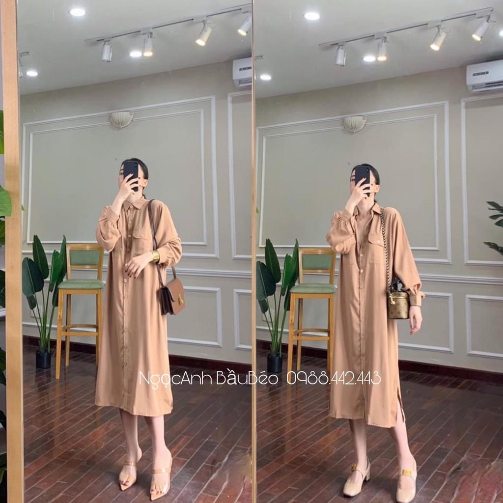 Váy bầu công sở thời trang thiết kế sơ mi kèm đai bầu bí mặc bầu và sau sinh