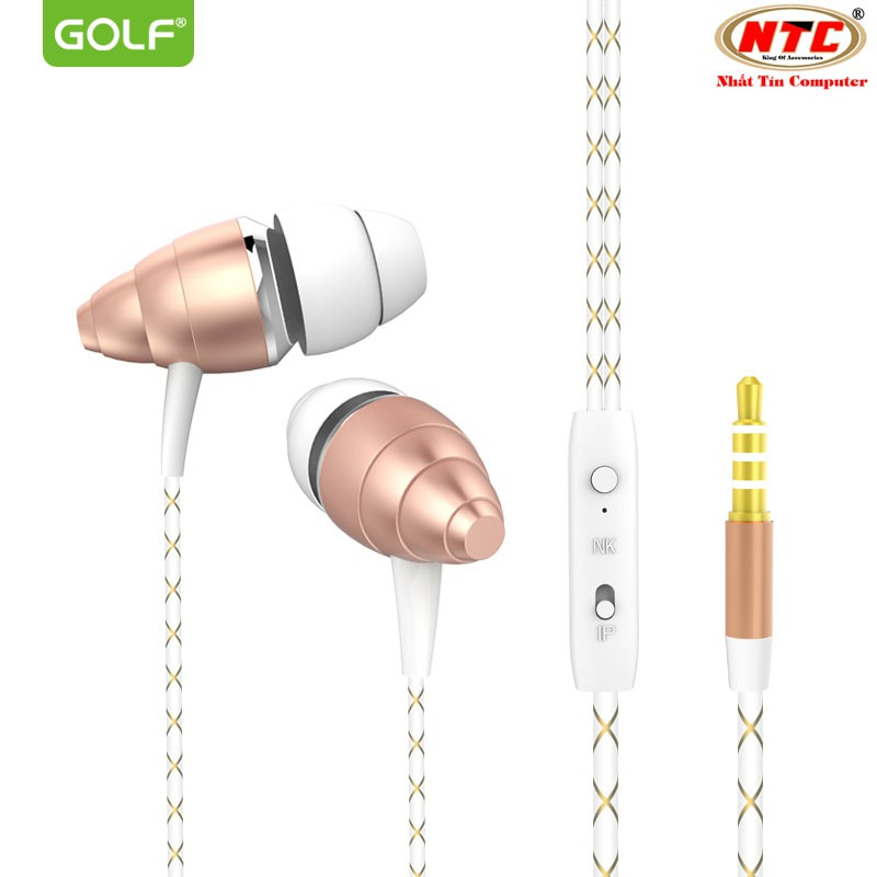 Tai nghe nhét tai GOLF M5 jack 3.5 (Vàng đồng) - Hãng phân phối chính thức