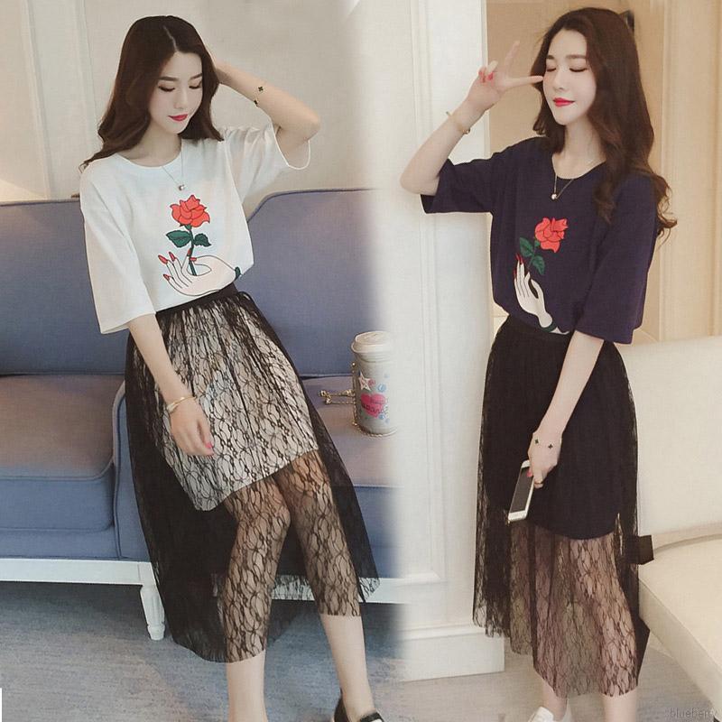 2076970761 - Set áo thun ngắn tay in hoa phối ren + Chân váy xòe thời trang nữ tính